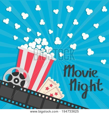 Popcorn popping. Big movie reel. Ticket Admit one. Three star. Cinema movie icon in flat design style. Film strip border. Red yellow strip box. Blue star burst sunburst wave background Vector