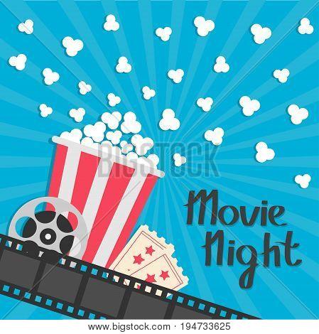 Popcorn popping. Big movie reel. Ticket Admit one. Three star. Cinema movie icon in flat design style. Film strip border. Red yellow strip box. Blue star burst sunburst wave background Vector