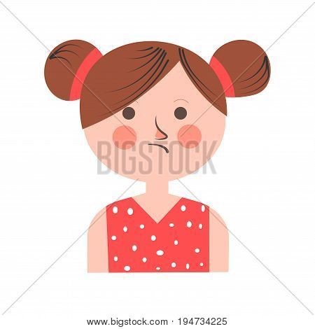 Teenager girl portrait in bad mood with plaid hair isolated on white. Vector colorful illustration in flat design