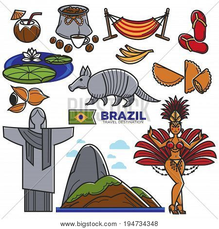 Brazil culture and travel landmarks and famous sightseeing. Vector icons set of Brazilian flag, Christ Redeemer on Corcovado in Rio de Janeiro, samba carnival dancer, football and exotic animal