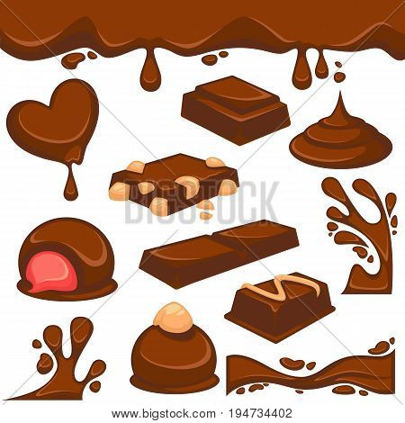 Chocolate dripping splash drops and confectionery desserts of truffle candy bars and confections. Vector icons of sweet choco fondant or cocoa pastry products with nut or cream filling