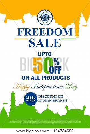 vector illustration of Sale Promotion and Advertisement for 15th August Happy Independence Day of India