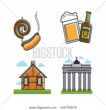 German attributes collection with residential building and national destination vector colorful poster in graphic design. Sausage on stick and hot dog, beer in bottle and glass and sightseeing