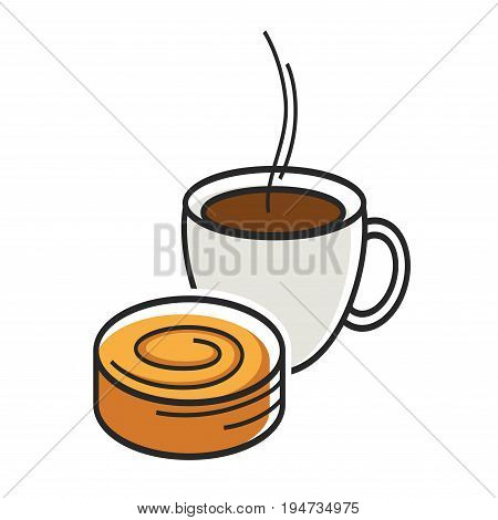 Cup of coffee with steam and sweet tasty bun isolated minimalistic vector illustration on white background. Delicious breakfast that consists of hot beverage and bakery product for energy charge.