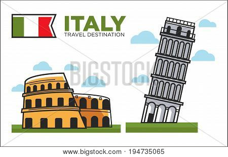Italy famous symbols, travel and culture for travel famous landmarks or attractions. Vector icons leaning tower of Pisa, Coliseum or Colosseum architecture in Rome and Italian flag