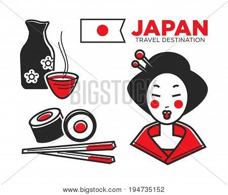 Japan culture, food and travel symbols or famous landmarks. Vector icons of Japanese flag, geisha woman in kimono, sushi with chopsticks and sake rice drink
