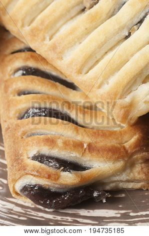 Small strudel cake with blueberry closeup shot local focus