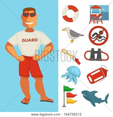 Lifeguard icons. Vector flat set of beach emergency rescuer man with binoculars, life buoy, warning sign or whistle and tide flags, jellyfish and seagull