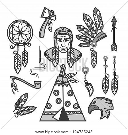 Native American Indians traditional culture or life household items. Tribal Wigwam dwelling, tomahawk weapon work tool and national clothes of indigenous Apache, Cherokee or Navajo. Vector icons set
