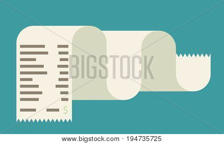 Receipt vector icon in a flat style isolated on a colored background.