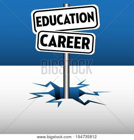 Colorful background with two plates with the text education career coming out from an ice crack