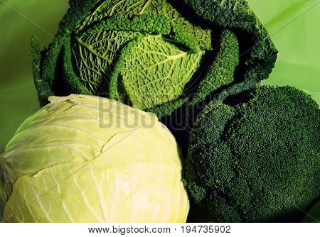 White Cabbage Next To Savoy Cabbage And Broccoli, Three Different Species In One Place
