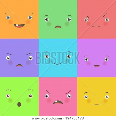 Emotion flat set. Cute square faces. Feelings, high degree of pleasure and displeasure, cute design for fun and motivation. Flat style vector illustration
