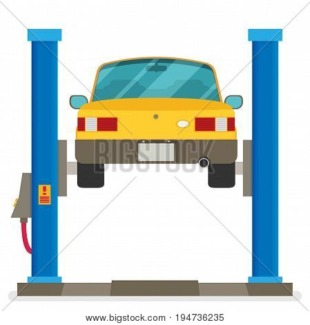 Car Repair. Car Lifted On Auto Lift. Vector