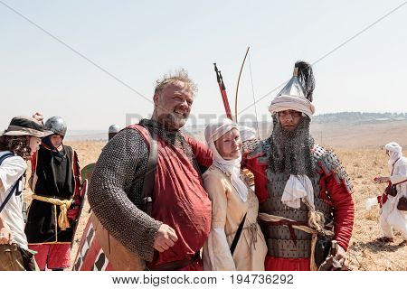 Tiberias Israel July 01 2017 : Participants in the reconstruction of Horns of Hattin battle in 1187 posing for photographers after the battle near Tiberias Israel