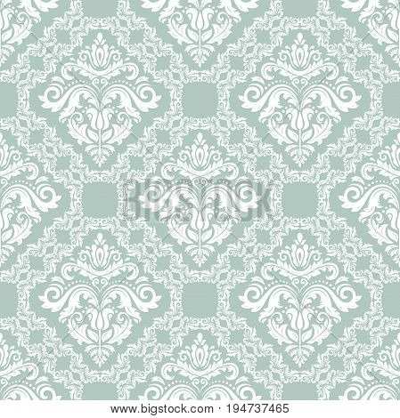 Oriental classic light blue and white pattern. Seamless abstract background with repeating elements. Orient background