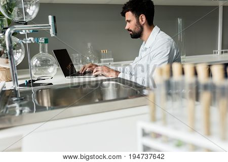 Side View Of Concentrated Professional Chemist Using Laptop In Laboratory