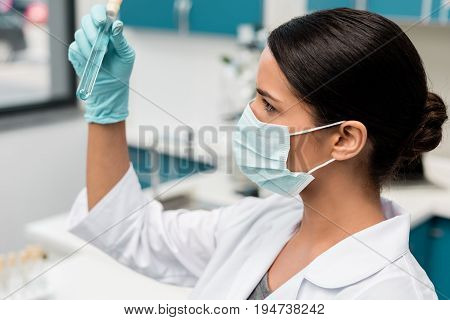 Focused Young Scientist In White Coat Holding Test Tube In Lab