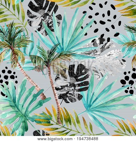 Natural watercolor seamless pattern. Hand drawn abstract tropical summer background: palm trees marbled monstera fan palm leaves squiggles dots in circle. Modern art illustration