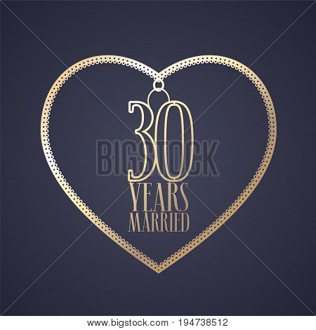 30 years anniversary of being married vector icon logo. Graphic design element with golden color heart for decoration for 30th anniversary wedding