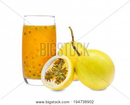 passion fruit with juice isolated on white background