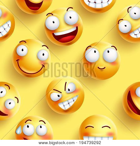 Smileys wallpaper seamless vector pattern in yellow color with continuous happy faces and facial expressions. Vector illustration.
