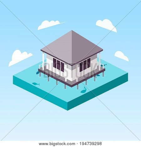 Overwater Bungalow in ocean isometric style colorful vector illustration