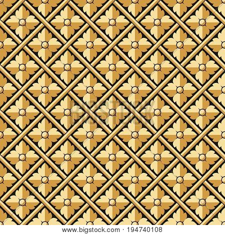 Antique Seamless Background Image Of Relief Cross Check Round Flower