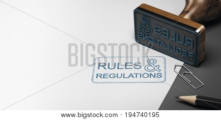 3D illustration of a rubber stamp with other office supplies and the text rules and regulations on a sheet of paper.