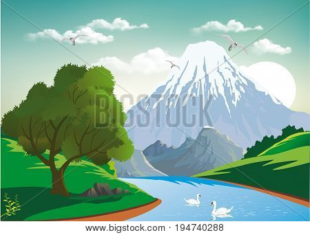 Landscape - two swans on a mountain river. Green tree by the river. Of the rocky mountains. Vector illustration