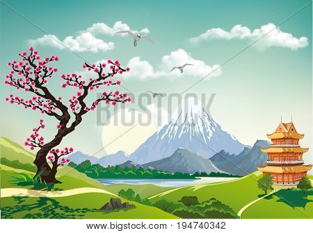 Landscape nature Japan this morning. Pagoda and cherry blossom. Mountains and volcanoes on the coast. Realistic vector illustration