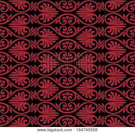 Antique Seamless Background Image Of Vintage Crimson Curve Spiral Fan Shape Flower