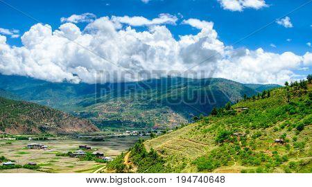 Panorama view to Paro valley in Bhutan