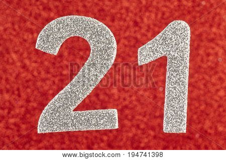 Number twenty-one silver over a red background. Anniversary. Horizontal