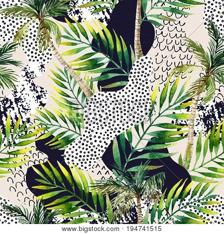 Abstract summer geometric seamless pattern. Watercolor palm tree and leaves smooth bend shapes filled with ink grunge minimal doodle textures on pastel background. Hand painted tropical illustration