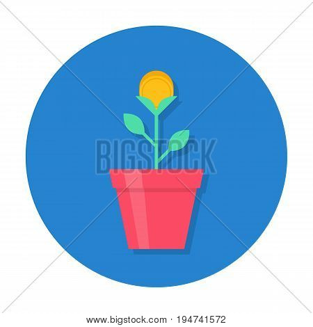 Gold coin flower pot, creative making money solution, office motivation. Vector flat style cartoon illustration in rounded shape. Business success concept