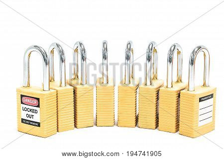 Metal yellow locks isolated on white background