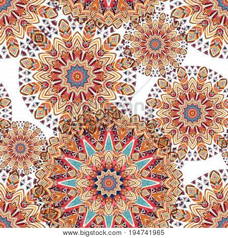 Watercolor ethnic ornate feathers abstract mandala seamless pattern. Lace pattern with tribal feathers and geometric elements background. Hand painted art illustration for boho authentic design