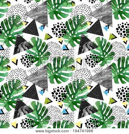 Abstract seamless pattern with watercolor tropical leaves and textured triangles. Triangle with marble grunge textures. Geometric background in 80s 90s pop art style. Hand drawn tropical illustration
