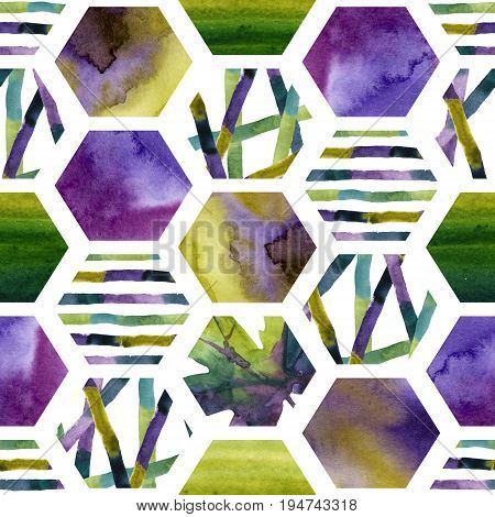 Abstract watercolor textured hexagon shapes seamless pattern. Geometric background with autumn leaves colorful stripes green and purple wet water color textures. Hand painted art illustration