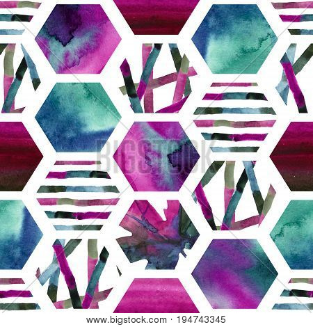 Abstract watercolor textured hexagon shapes seamless pattern. Geometric background with autumn leaves colorful stripes pink and turquoise blue wet water color textures. Hand painted art illustration
