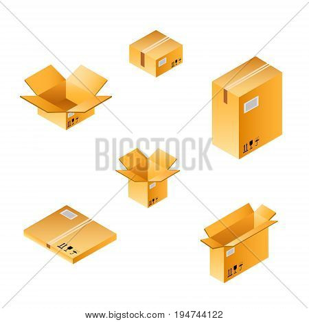 Isometric box set of different size. Set closed and open cardboard boxes on white background.