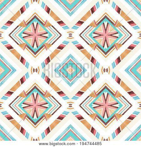 Diamond shapes with watercolor ornament. Watercolor textured seamless pattern: striped geometrical decoration. Symmetrical geometric background. Hand painted water color illustration