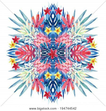 Watercolor tropical leaves flowers pineapple arrangement isolated on white background. Symmetrical mirrored water color exotic floral painting. Hand painted natural illustration for modern design