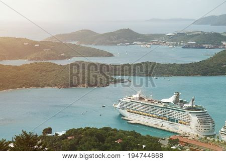 Cruise to Virgin st Thomas island. Tropical resrt in caribbean