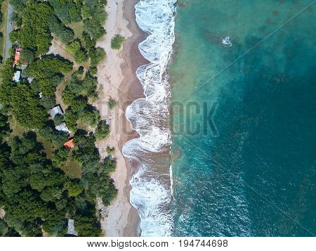 Blue ocean water view from drone. Abstract nature pattern