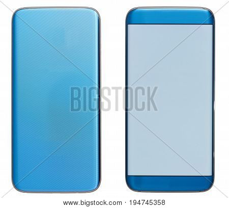 Modern generic blue smartphone with curved edge isolated on white background