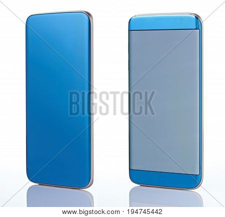 Perspective views of generic blue smartphone isolated on white background