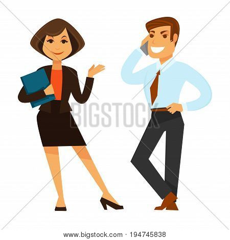 Female and male business co-workers standing isolated on white. Vector colorful illustration in flat design of woman holding folder and man in suit talking over smartphone with smile on face