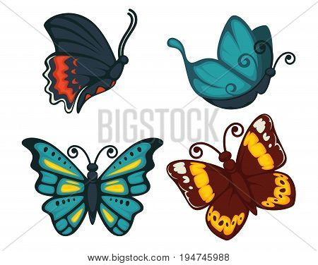 Butterflies icons for decoration. Vector cartoon isolated exotic species set of swallowtail, tropical monarch and hawk-moth, machaon or luna butterfly with fluttering wings